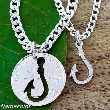 Fish Hook couples necklaces, Hand Cut Coin by NameCoins