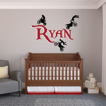 Personalized Motocross Wall Decal, Dirt Bike Wall Decal, Motocross, Motocross Decor, Dirt Bike Decal, Baby Motocross