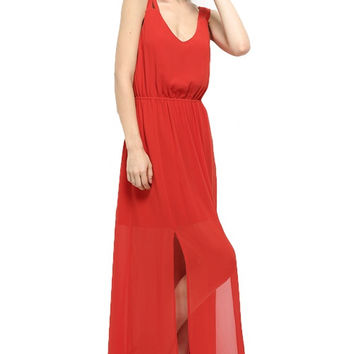 Good Graces Low Back Maxi Dress - Persimmon