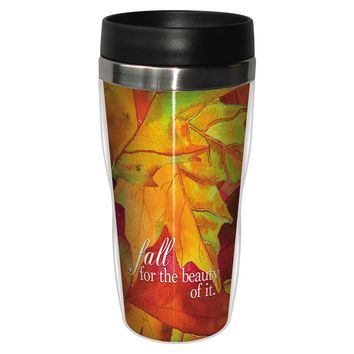 Fall For The Beauty Artful Travel Mug - Premium 16 oz Stainless Lined w/ No Spill Lid