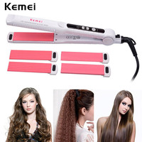 3 in 1 Hair Curler Rollers Straightener Iron Interchangeable Hair Curling Iron Hair Straightening Corrugated IronStylingTool4951