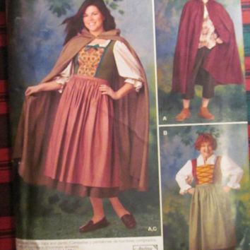 SALE Uncut Simplicity Sewing Pattern, 0205! XS-SL 8-10-12-14-16-18/Women's/Misses/Men's, Capes/Historical Wench Costumes/Little Red Riding H