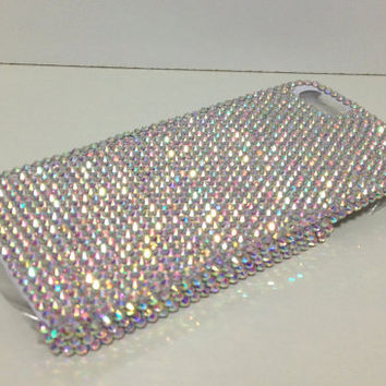 Clear AB Swarovski Elements Plain iPhone 5 Bling Rhinestones Hard Case Cover with Crystals Hand Made