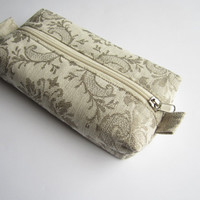 Damask linen box pouch zippered, Boxy pouch, Cosmetic pouch, Make Up Pouch, Toiletery bag, Project bag, Pencil case, Pencil box pouch, bag