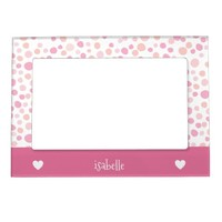 Girly Pink Polka Dots Hearts Personalized Magnetic Photo Frame