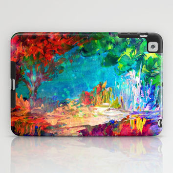 WELCOME TO UTOPIA Bold Rainbow Multicolor Abstract Painting Forest Nature Whimsical Fantasy Fine Art iPad Case by EbiEmporium
