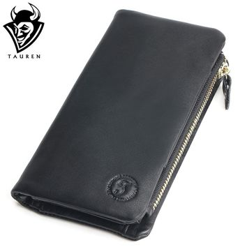 TAUREN Genuine Cowhide Leather Men Wallets Fashion Black Purse With Card Holder Vintage Long Wallet Clutch Wrist Bag
