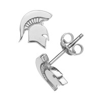 Dayna U Michigan State Spartans Sterling Silver Logo Stud Earrings (Grey)