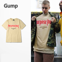 vfiles justin bieber fear of god Purpose Tour Men t-shirt 2016 New Arrivals Summer short sleeve man lovers woman tee