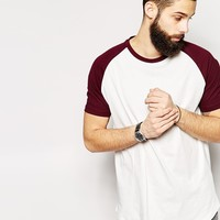ASOS Longline T-Shirt With Contrast Raglan Sleeves And Scooped Hem