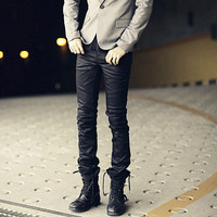 Slim Fit Leather Pants