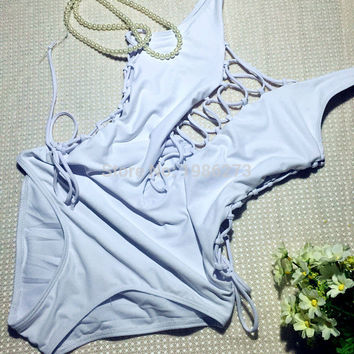 white color Sexy sport beach women's swimwear Multi-band hollow professional ONE PIECE SWIMSUIT  -0313