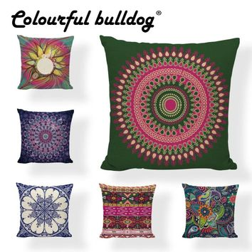 Meditation Abstract Geometric Circle Cushion Cover 45*45cm Mandala Style Striped Dot Trigon Office Living Room Couch Decoration