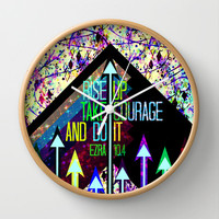 RISE UP TAKE COURAGE AND DO IT Colorful Geometric Floral Abstract Painting Christian Bible Scripture Wall Clock by The Faithful Canvas