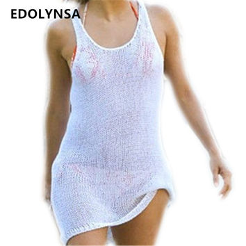New Arrivals Sexy Bathing Suit Cover ups White Knitted Beach Tunic Pareos Women Crochet Swimsuit Coverups Beachwear #Q240