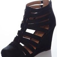 Open to Interpretation Closed Toe Caged Strappy Wedges - Black from Qupid at Lucky 21
