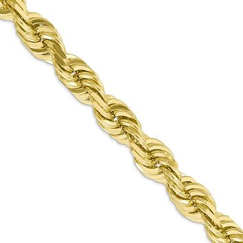 Men's 10mm 10k Yellow Gold Diamond Cut Solid Rope Chain Necklace, 22in