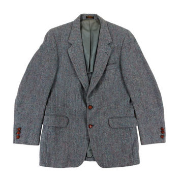 Vintage Grey Harris Tweed Sport Coat - Blazer Jacket Wool Preppy Ivy League Menswear - Men's Size 40 Medium Med M