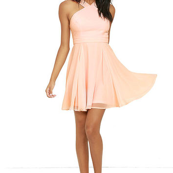Forevermore Peach Skater Dress