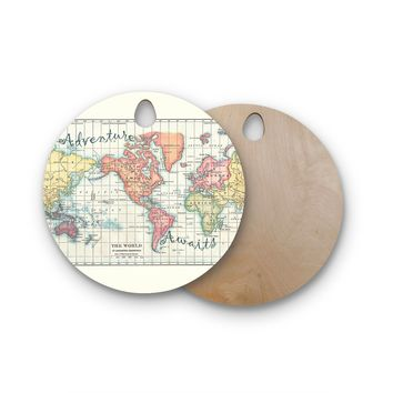 "Catherine Holcombe ""Adventure Awaits World Map"" Beige Pink Mixed Media Vintage Travel Round Wooden Cutting Board"