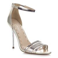 Gia Silver Strappy Metal Heel - Heels - Shoes