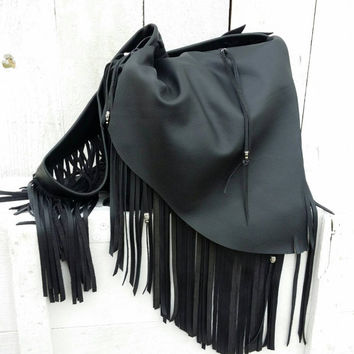 Fringe Black Leather Bohemia Handbag / Leather Fringe Purse / Black Leather Fringe Hobo Bag / Leather Fringe Hobo Bag / Gypsy Fringe Bag