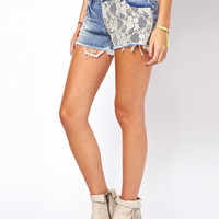 Only Lace Trim Denim Shorts