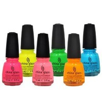 LOT of 6 China Glaze Nail Polish POOLSIDE SET Collection .5 oz Lacquer Manicure
