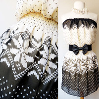 NEW Rue21 Ivory/Black Knitted Pattern Print vtg MOD Strapless BOHO Chiffon Dress