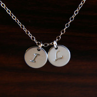 Double initial disc necklace - personalized gift, bridesmaids gift