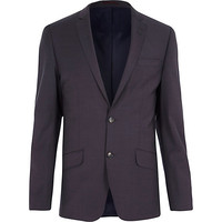 River Island MensGrey wool-blend slim suit jacket
