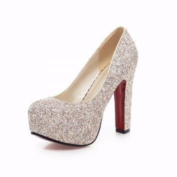 Glitter Wedding Shoes Pumps