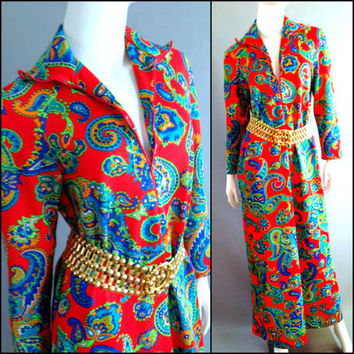 Vintage 60s 70s Moo-Moo Kaftan Maxi Dress Aloha Paisley Print Beach Coverup Goddess Caftan Resort lounge Dress Sears The Great Entertainer