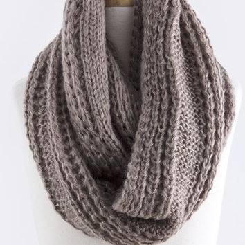 Glimmering Cable Design Knit Infinity Scarf