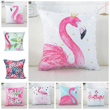 Cushion Cover Mermaid Sequin Flamingos Decorative Cushion Covers Color Changing Reversible Pillow Cover Cushion Cover For Sofa 3