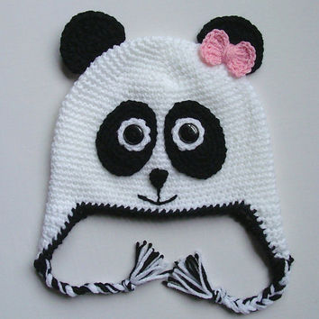 Panda Bear Crochet Hat, Earflaps, Button Eyes, Children's hat, Black and White