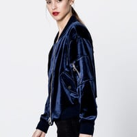 Velvet bomber jacket - Coats and jackets - Clothing - Woman - PULL&BEAR Sweden
