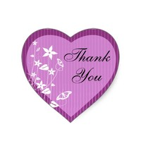 Heart Thank You Seal | Pink Flower Butterfly Heart Sticker