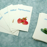 Vegetables in Russian, French, English, German: Translation cards, Flash cards, Word game, children's game, learn a language