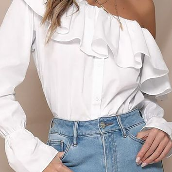 Doing Things Right White Ruffle Long Sleeve Button One Shoulder Blouse Top