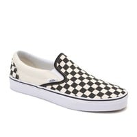 Vans Classic Slip-On Checkered Shoes - Mens Shoes - White -