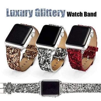 Glittery Leather Watch Band with Connector Adapter strap for Apple Watch iWatch Band for gift
