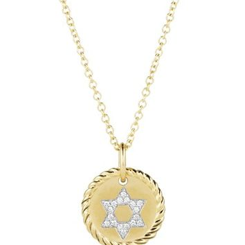 Women's David Yurman 'Cable Collectibles' Star of David Charm Necklace with Diamonds in Gold - Diamond