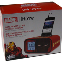 Marvel iHome Avengers Iron Man Dual Alarm Clock Speaker System MP3 Smartphone