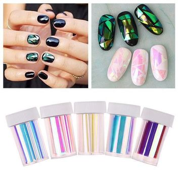 PEAPGB2 2016 Newest 5 Pcs Broken Glass Finger Nail Art Stencil Decal Nail Art stickers Ongles 50.00*30.00*30.00MM