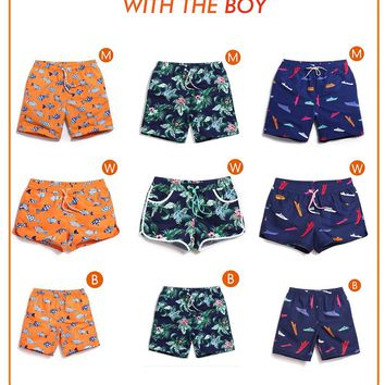Parent-child Dressing Beach Short Surf Quick Dry Beach Towel Trunks Lined Mens Board Shorts With Child Swim Father Son Daughter