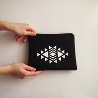 Black Navajo Stamped Clutch , Navajo Zipper Pouch , Navajo Bag , Tribal Clutch