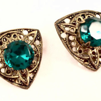 Emerald Green Rhinestone Clip on Earrings Vintage Jewelry