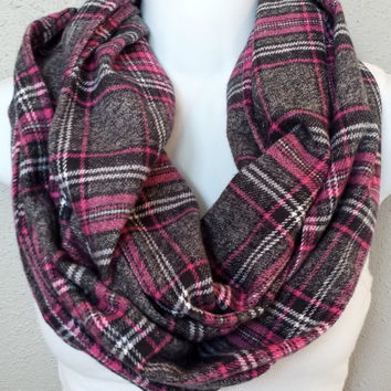 Pink And Grey Plaid Fall Infinity Scarf Plaid Flannel Cotton Chunky Womens Fall Circle Scarf Warm Winter Fashion Scarf