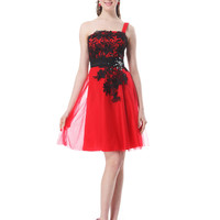 Red Satin & Black Lace Party Dress